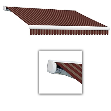 Awntech® Key West Full-Cassette Left Motor Retractable Awning, 18' x 10', Burgundy/Tan