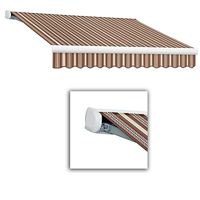 Awntech® Key West Full-Cassette Left Motor Retractable Awning, 12' x 10', Brown/Linen/Terra