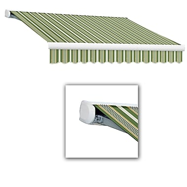 Awntech® Key West Full-Cassette Right Motor Retractable Awning, 12' x 10', Forest/Gray/Tan