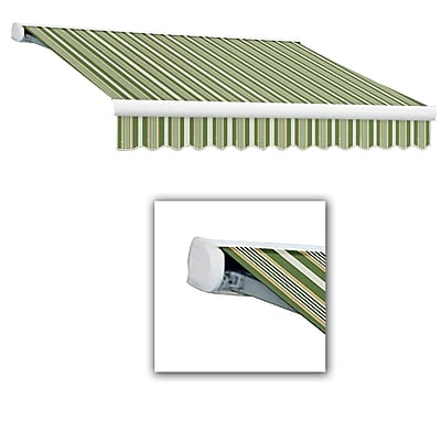 Awntech® Key West Full-Cassette Right Motor Retractable Awning, 24' x 10', Forest/Gray/Tan