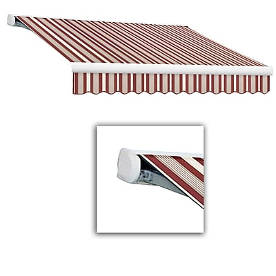 Awntech® Key West Full-Cassette Left Motor Retractable Awning, 16' x 10', Burgundy/Gray/White