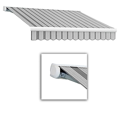 Awntech® Key West Full-Cassette Left Motor Retractable Awning, 16' x 10', Gun/Gray/White