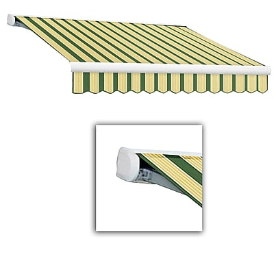 Awntech® Key West Full-Cassette Right Motor Retractable Awning, 10' x 8', Forest/Tan
