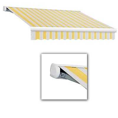 Awntech® Key West Full-Cassette Right Motor Retractable Awning, 8' x 7', Light Yellow/Gray
