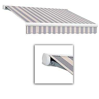 Awntech® Key West Full-Cassette Left Motor Retractable Awning, 12' x 10', Dusty Blue Multi