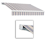 Awntech® Key West Full-Cassette Manual Retractable Awning, 20' x 10', Dusty Blue Multi