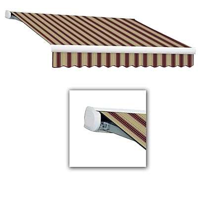 Awntech® Key West Full-Cassette Left Motor Retractable Awning, 10' x 8', Burgundy/Tan Multi