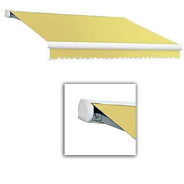 Awntech® Key West Full-Cassette Left Motor Retractable Awning, 18' x 10', Light Yellow