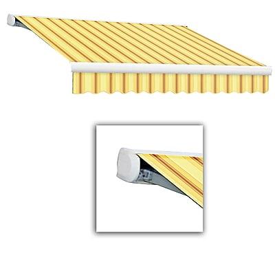 Awntech® Key West Full-Cassette Left Motor Retractable Awning, 18' x 10', Light Yellow/Terra