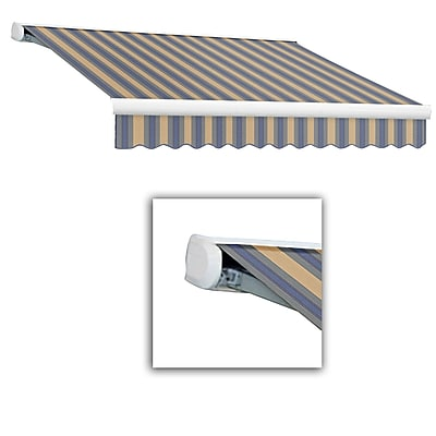 Awntech® Key West Full-Cassette Manual Retractable Awning, 8' x 7', Dusty Blue/Tan Wide