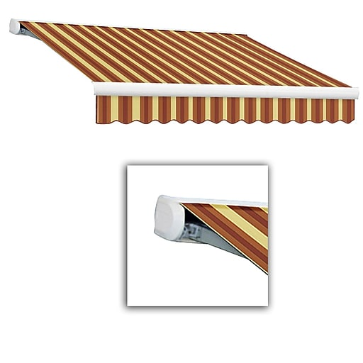Awntech® Key West Full-Cassette Right Motor Retractable Awning, 18' x 10', Burgundy/Tan Wide