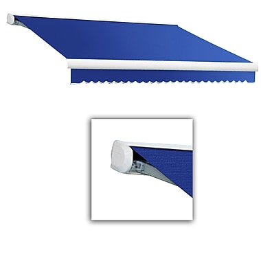 Awntech® Key West Full-Cassette Left Motor Retractable Awning, 12' x 10', Bright Blue