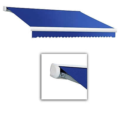 Awntech® Key West Left Motor Retractable Awning, 8' x 7', Bright Blue