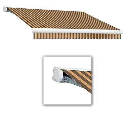 Awntech® Key West Full-Cassette Right Motor Retractable Awning, 10' x 8', Brown/Tan