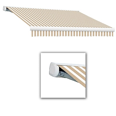 Awntech® Key West Full-Cassette Left Motor Retractable Awning, 20' x 10', Linen/White