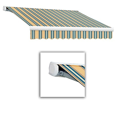 Awntech® Key West Full-Cassette Right Motor Retractable Awning, 16' x 10', Tan/Teal