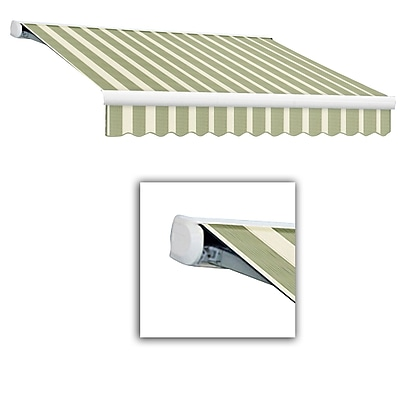 Awntech® Key West Full-Cassette Right Motor Retractable Awning, 20' x 10', Sage/Linen/Cream
