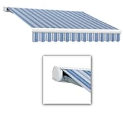 Awntech® Key West Full-Cassette Right Motor Retractable Awning, 20' x 10', Bright Blue/Gray/White