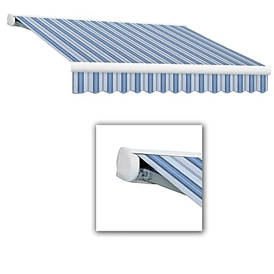 Awntech® Key West Full-Cassette Right Motor Retractable Awning, 8' x 7', Bright Blue/Gray/White