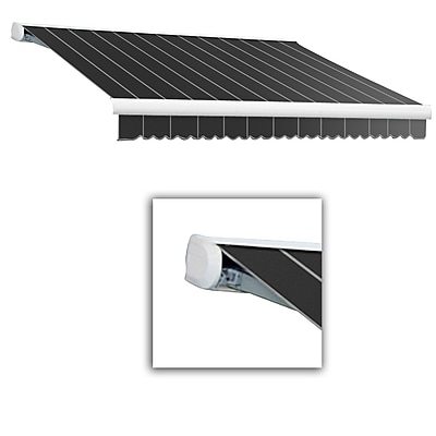 Awntech® Key West Full-Cassette Manual Retractable Awning, 16' x 10', Gun Pinstripe