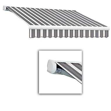 Awntech® Key West Full-Cassette Right Motor Retractable Awning, 24' x 10', Navy/Gray/White
