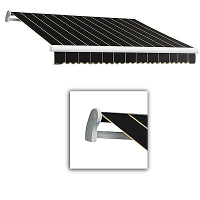 Awntech® Maui® LX Left Motor Retractable Awning, 8' x 7', Black Pinstripe