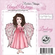 """Cindy Echtinaw Designs™ Angel Wings 3 1/4"""" x 4"""" Mounted Cling Stamp, Lindsay"""