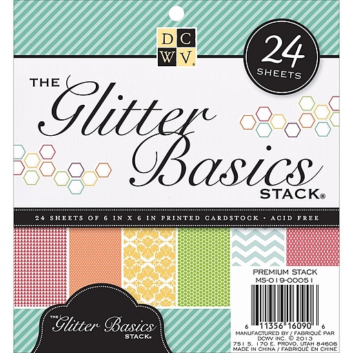 diecuts with a view 6 x 6 cardstock paper stack glitter basics