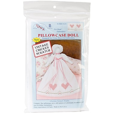 Jack Dempsey Stamped White Pillowcase Doll Kit, Chicken Scratch Hearts