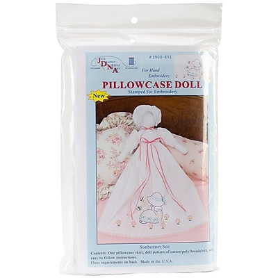 Jack Dempsey Stamped White Pillowcase Doll Kit, Sunbonnet Sue