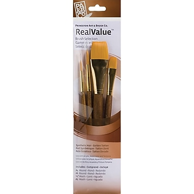 Princeton Artist Brush RealValue Short Handle Brush Sets, 4/Pack (P9146)