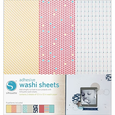 Silhouette Of America SILWASH Adhesive Back Multicolored Washi Sheets, 12