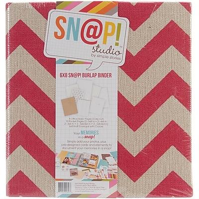 Simple Stories Burlap Sn@p! 6 x 8 Inch 2-Ring Binder, Red (SNAP6X8B-4076)