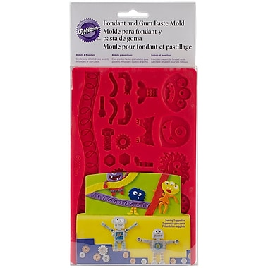 Wilton W2559 Fondant and Gum Robots and Monsters Paste Mold, 7.75