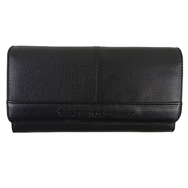 Club Rochelier Clutch Wallet With Checkbook & Gusset, Black