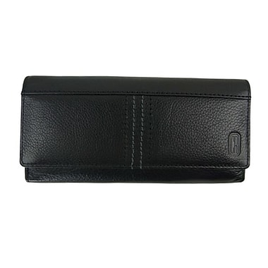 Club Rochelier Large Clutch Wallet With Tab Closure With Gusset Pockets, Black