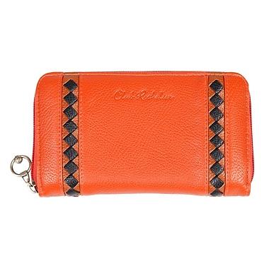 Club Rochelier Zippered Round Clutch With Zippered Pocket, Orange