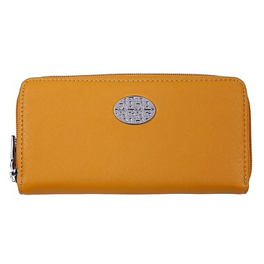 Club Rochelier Zippered Round Clutch with Coin Pocket, Yellow