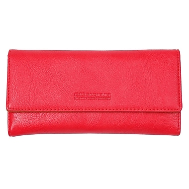 Club Rochelier Ladies Slim Clutch With Removable Coin Purse, Coral