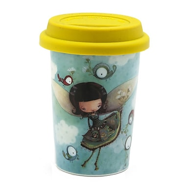 Double Wall Coffee Mug With Silicone Lid, 160ml, Fairy Faf