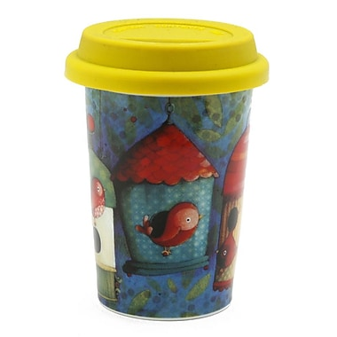 Double Wall Coffee Mug With Silicone Lid, 160ml, Bird Houses
