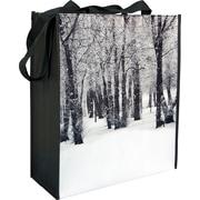 Sac réutilisable non tissé laminé à motif Forêt en hiver, 16 x 5 x 16 x 5 (po), bte/100