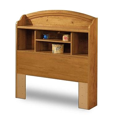 South Shore – Tête de lit avec bibliothèque pour lit simple de la collection Prairie, 39 po, pin campagnard