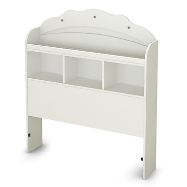 South ShoreMD – Tête de lit bibliothèque pour lit simple (39 po), collection Tiara, blanc pur
