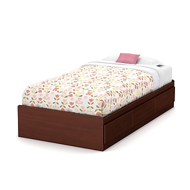 South Shore Little Treasures Twin Mates Bed (39'') with 3 Drawers, Royal Cherry , 76.25'' (L) x 40.25'' (D) x 14.5'' (H)