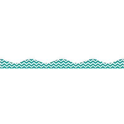 Ashley Kindergarten - 12th Grade Magnetic Border, Turquoise Chevron, 12/Pack