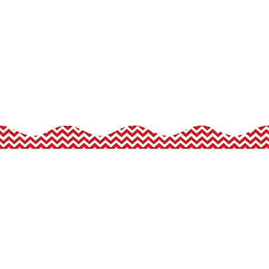 Ashley Kindergarten - 12th Grade Magnetic Border, Red Chevron, 12/Pack