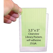 "Ashley 3 1/2"" x 5"" Clear View Self Adhesive Library Pockets, 25/Pack (ASH10408)"