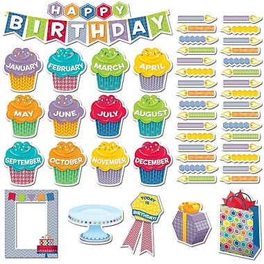 Creative Teaching Press Mini Bulletin Board Set, Hexafun Happy Birthday, 54/Pack (CTP6958)