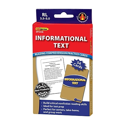 Edupress® Informational Text Reading Comprehension Practice Card, Blue
